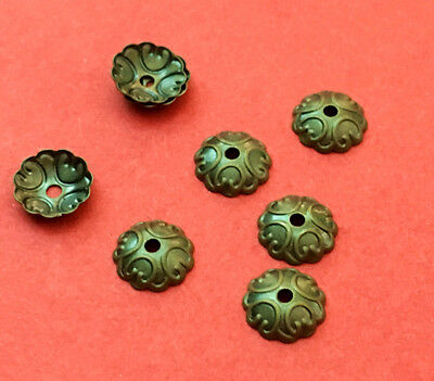 100pc 7mm antique bronze finish brass made bead caps-3230
