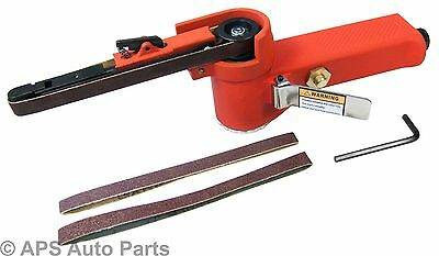 Air Belt Sander Shaping Finishing Lever Throttle 3 Belts Included 60 80 120 Grit