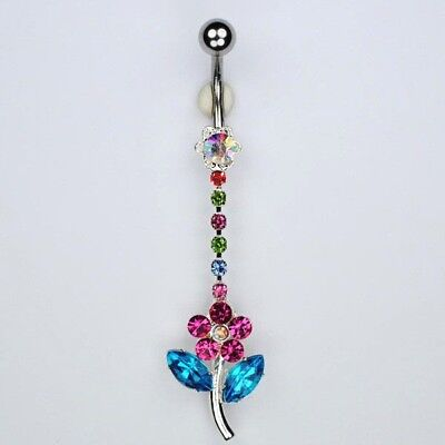 Hippie Daisy Dangle Belly Button Ring Pink Flower Navel Piercing Jewelry B24