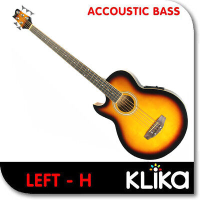 5 String Left Hand Karrera Sunburst Acoustic Bass Guitar With Electric Pickup