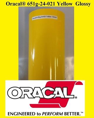 "12"" x 10 FT Roll Yellow Glossy Oracal 651 Vinyl Adhesive Cutter Plotter Sign 021"