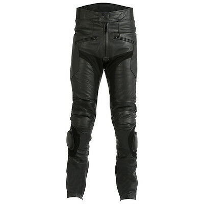 Mens Ce Armoured Quality Black Leather Motorbike / Motorcycle Trousers Jeans