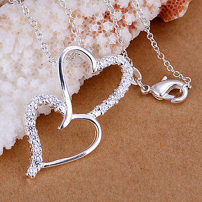 wholesale sterling solid silver chains rhinestone heart pendant necklace XUSP175
