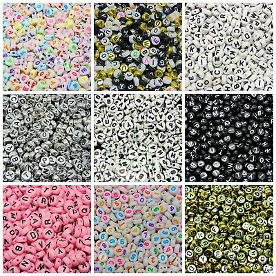 500 Pcs 7mm Random Mix 7mm Round Alphabet Letter Beads Kids Beading Crafts ML