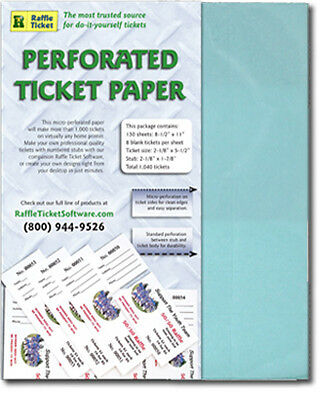 Perforated Raffle Ticket Paper (24lb) - BLUE- Makes 1,040 tickets