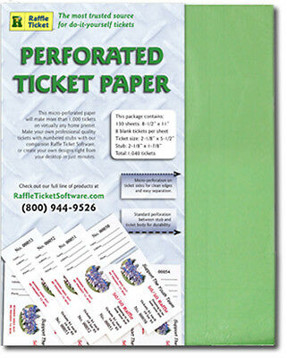 Perforated Raffle Ticket Paper (24lb) - GREEN bond - Makes 1,040 tickets