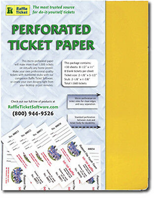 Perforated 24lb. Goldenrod  Printable Ticket Blanks, 1,040 ticket, 8/sheet