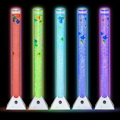 Colour Changing Led Sensory Mood Bubble 5 Fish Water Tower Tube Floor Lamp Light