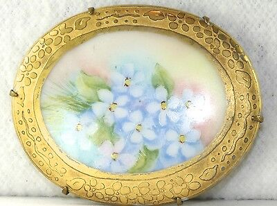 Very Large Victorian Antique Gilt Porcelain Blue Forget Me Not Flower Pin Brooch