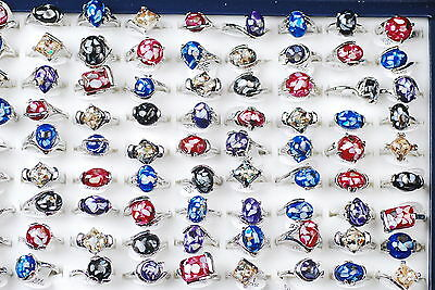 10pcs Womens Fashion Lampwork Glass Gemstone Silver Plated Alloy Rings Lots