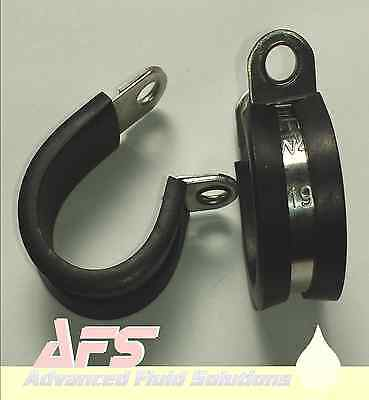 MIKALOR W4 Stainless Steel Rubber Lined Metal P Clips Pipe Mounting Hose Cable