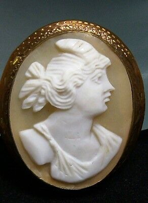 PRETTY~Carved Shell Figural Female CAMEO Pin Brooch~C-Clasp & Etched Frame
