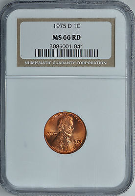 1975-D LINCOLN CENT 1c NGC MS66 RD