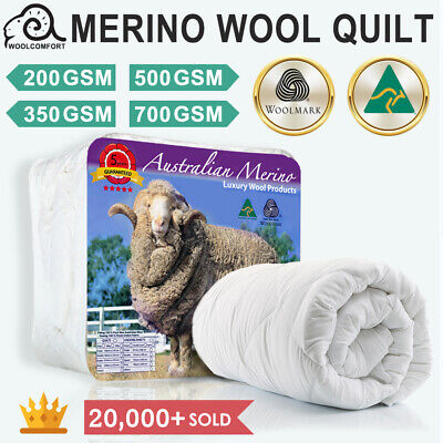 Aus Made 100% Merino Down Wool Quilt Duvet Doona Blanket Summer/Winter All Size