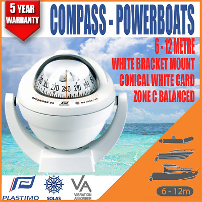 Plastimo Offshore BOAT MARINE Compass RWB8030 White Bracket Mount Conical Card