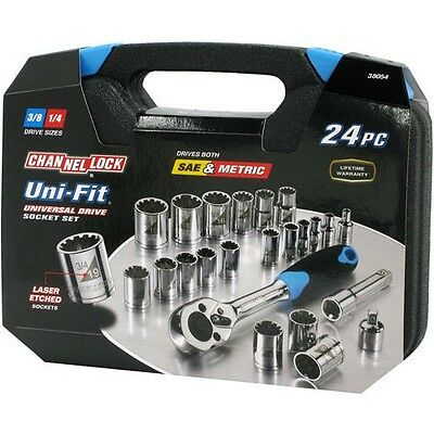 New Channellock 38054 24 Piece Uni-Fit Socket Tool Set Sae & Metric With Case