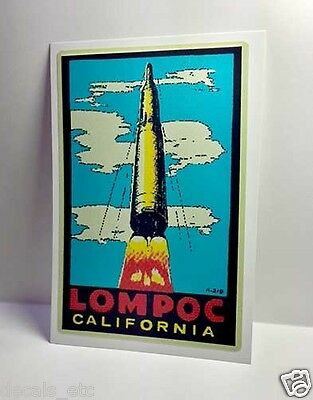 Lompoc California Vintage Style Travel Decal / Vinyl Sticker, Luggage Label
