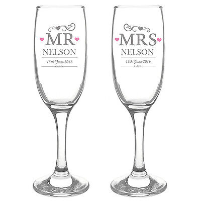 PERSONALISED MR & MRS CHAMPAGNE FLUTE GLASSES SET Wedding Anniversary Gift Idea