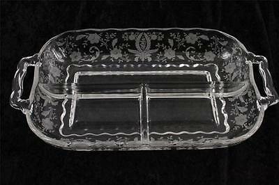 Vintage New Martinsville Viking Elegant Etch Glass PRELUDE 3 Section Relish Dish
