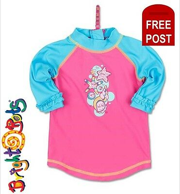 Bright Bots Baby Girls Rash Top Shirt UPF50+ Swimwear Pink sz 00 0 1 2 Toddler