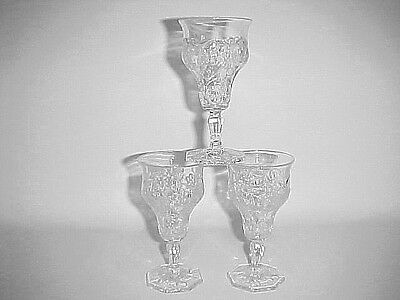 3 Crystal Clear Rock Crystal Stemmed Wine Goblets