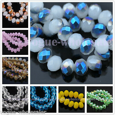 (50) Glass Crystal Faceted Diy Loose Finding Spacer Beads 4x6mm 110 Color In