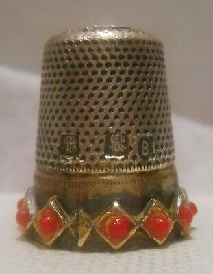 Antique Sterling Silver & Gold Thimble by J.A.Henckels, Germany, Circa *1900s