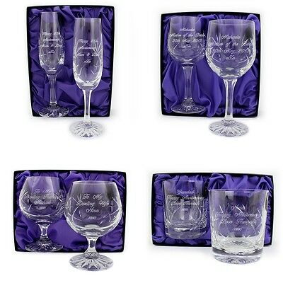 PERSONALISED LEAD CRYSTAL CHAMPAGNE WINE WHISKY BRANDY GLASSES SET Wedding Gift