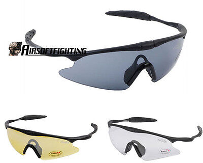 3Color Airsoft Tactical Sporty UV400 Protection Police Shooting Glasses Black B