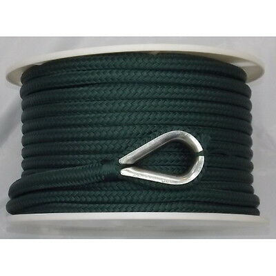 1/2 Inch x 150 Ft Forest Green Double Braid Nylon Anchor Line for Boats
