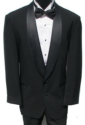 Black 2 Button Tuxedo Package Wedding Prom Formal Evening Free Shipping! 48XL