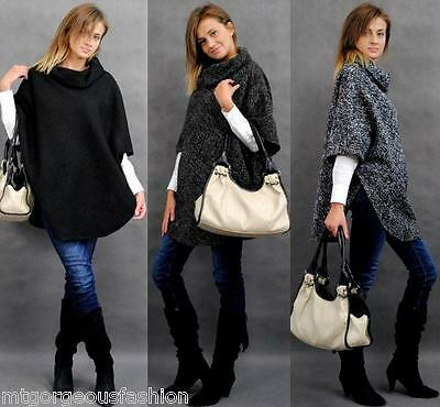 Maternity Pregnancy Warm Poncho Cardigan Coat Thick Winter One Size 8 10 12 14