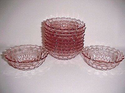 10 Pink Cube Matching Desert Bowls / Pointy Edge / Jeannette  Co