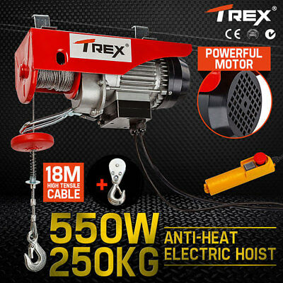 T-REX Electric Hoist Winch 250KG 240V Cable Lift Tool Remote Chain Lifting Rope