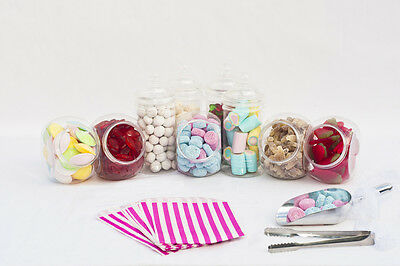 Plastic Sweet Jars Tongs Scoops & Bags Candy Buffet Kit Wedding Party Kids Loot