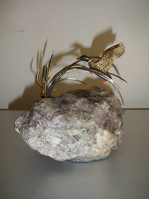 Exquisite English Sterling silver quartz sculpture enamel flying duck in cattail
