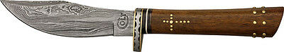 Colt Knives 406 Damascus Hunter Fixed Blade Knife with One Piece Round Design Br