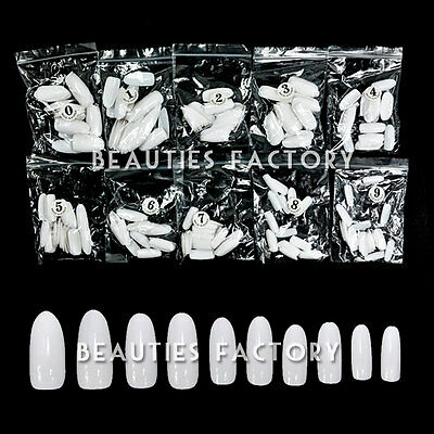 Oval Full Cover False Nails Natural White Clear Artificial Art Tips Whole Nails