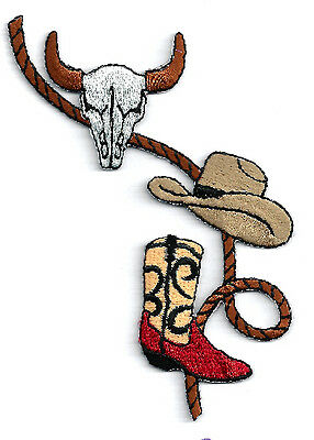 Southwestern - Cowboy Rope - Skull - Cowboy Hat - Boot Embroidered Iron On Patch