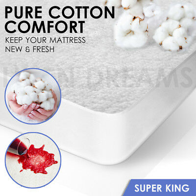 Fully Fitted Terry Cotton Waterproof Mattress Protector Cover - SUPER KING