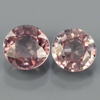MATCH PAIR 2pcs/1.39ct Round Natural UNHEATED Imperial Pink ZIRCON GEM #308572