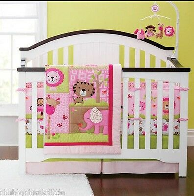 4 sets baby Nursery Crib Cot Bedding Quilt bumper sheet Dust ruffle Cartoon YT06