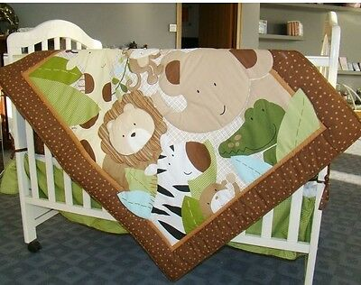 6 sets baby Nursery Crib Cot Bedding Quilt bumper sheet Dust ruffle Cartoon YT07