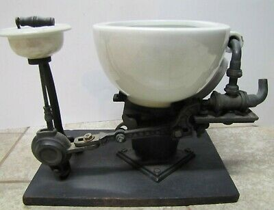 Antique WS CARR NY Dental Spittoon Early Plumbing Porcelain Cast Iron Ornate