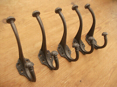 5 X VICTORIAN CAST IRON COAT HOOKS ANTIQUE VINTAGE RUSTIC shabby chic look heavy