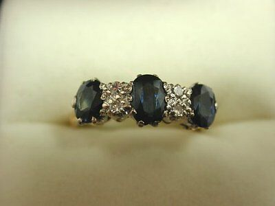 Beautiful Vintage 1975 18ct Yellow & White Gold Sapphire  Diamond Gypsy set Ring