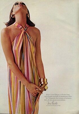 "1965 Van Raalte Turquerie ""Turkish Fashion"" Striped Dress Pretty Girl PRINT AD"