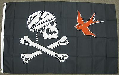 JOLLY ROGER PIRATE FLAG  3/' X 5/' SKULL AND CROSSBONES COMMITMENT TO EXCELLENCE