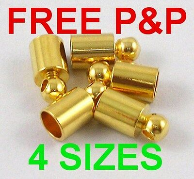 Platinum Gold Silver Plated Cord Ends Tips Necklace Caps Loads Of Sizes Le0010
