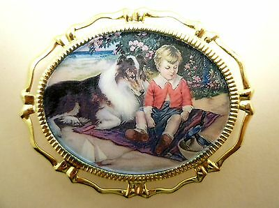 Vintage Altered Art of a Collie and Young Boy on Cabochon in Gold-Tone Brooch